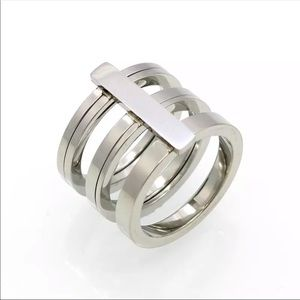 Jewelry - Platinum Plated 3 Ring Knuckle Ring Layered